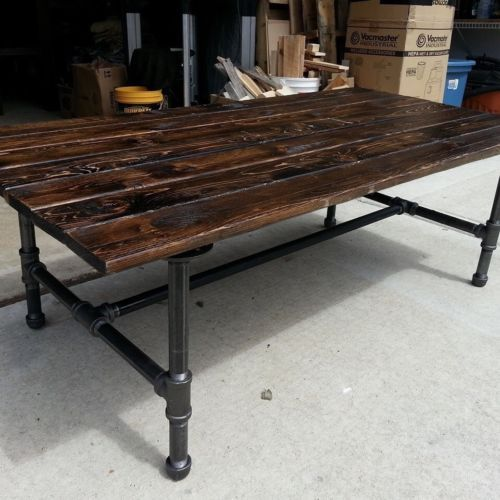 black iron furniture. Rustic Coffee Table With Pipe Base Black Iron Furniture D