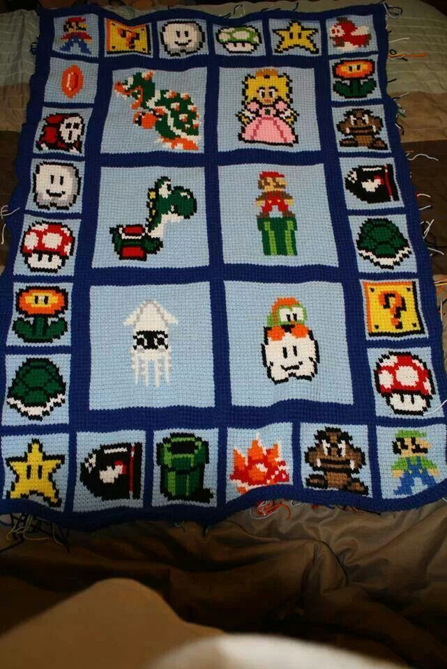 Crocheted mario blanket