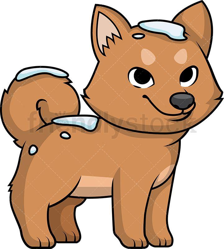 Cute Dog Out In The Snow Cartoon Clipart Vector Friendlystock Cute Dogs Cartoon Clip Art Puppy Play