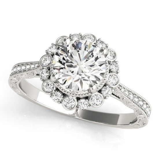 NEW LADIES 14k WHITE GOLD DIAMOND SEMI-MOUNT ROUND ENGAGEMENT HALO ANTIQUE RING  #Solitaire