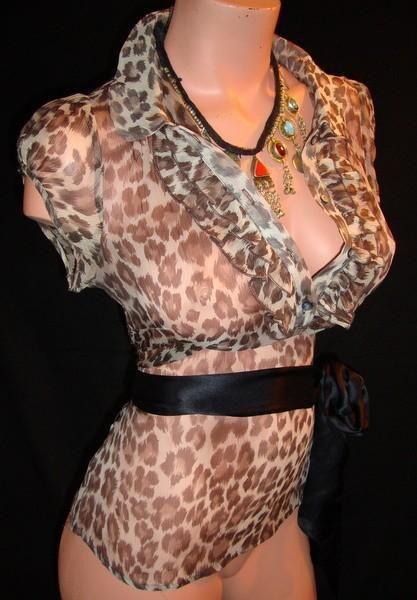 Леопардовая блузка 100% полупрозрачный шелк - Основная одежда во Владивостоке
