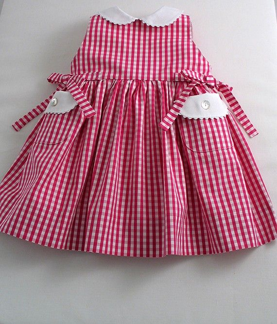 Lipstick Pink Gingham Baby Dress - Patricia Smith Designs