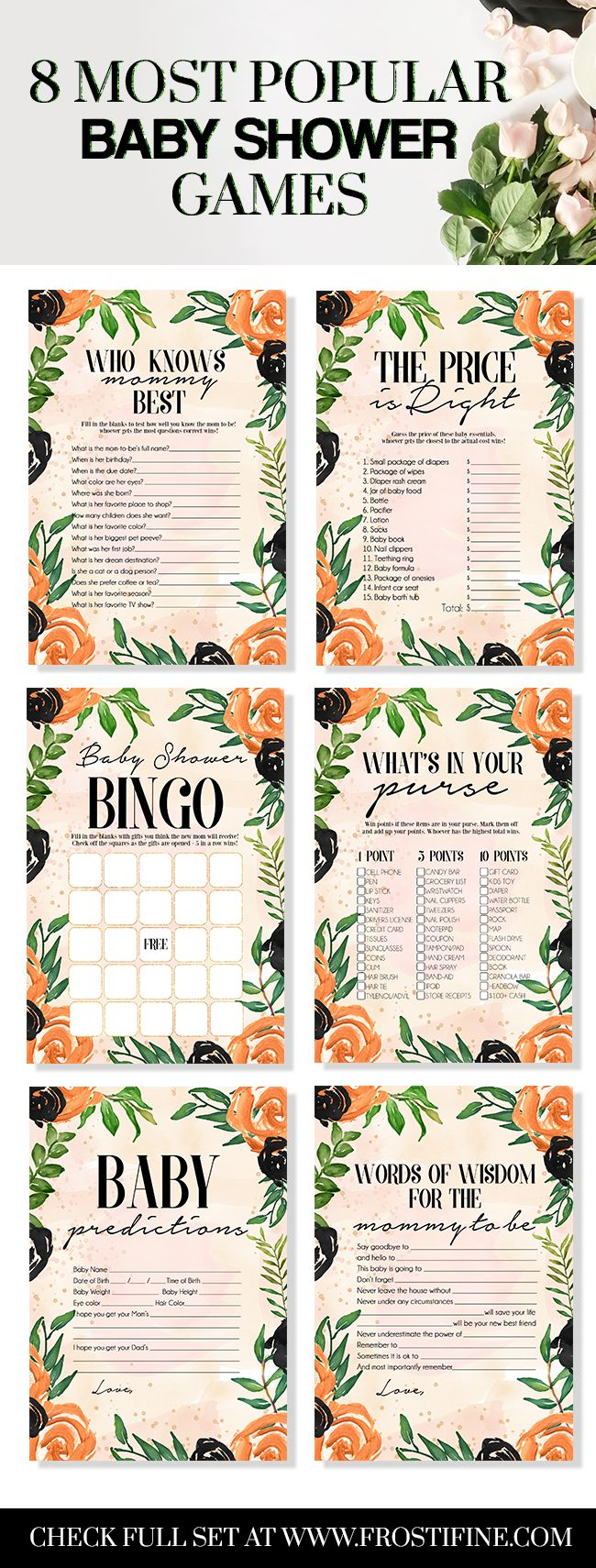Modern boho baby shower games ready for DIY baby shower celebration. 8 most popular games in the set includes baby shower bingo, baby predictions, advice for new mom to be and many more game cards you will actually use.