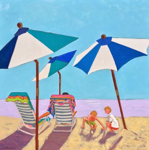 "Richmond artist Anne Walker, ""Under the Umbrellas"", 36x36 Lynchburg Art Festival http://annewalkerart.com/"