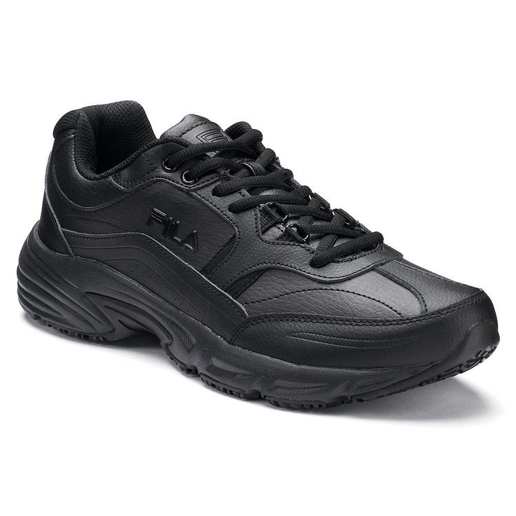 Fila® Memory Workshift Men's Walking Shoes, Size: 11.5 Wide, Black