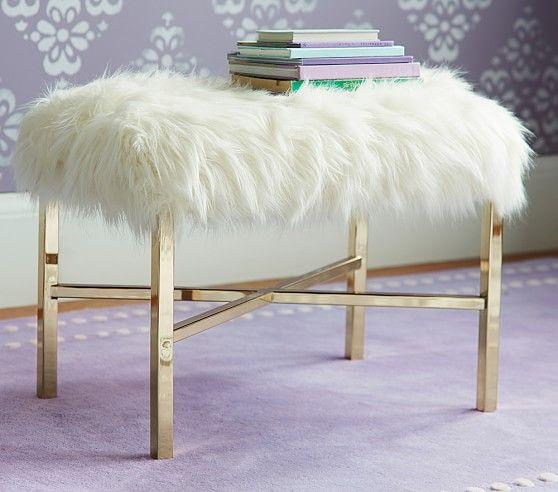 White Mongolian Lamb fur (Sherpa?) bench ottoman gold legs