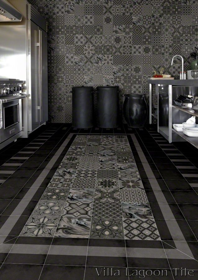 Ceramic tile that simulates the appearance of traditional cement tile, at a better price point, simpler installation, and easier maintenance compared to authentic cement tile. by Villa Lagoon Tile