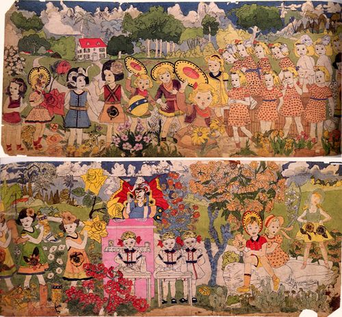 Henry Darger (1892-1973) was a reclusive American artist who worked as a custodian in Chicago, Illinois. He has become famous for his posthumously-discovered 15,145-page, single-spaced fantasy manuscript called The Story of the Vivian Girls.