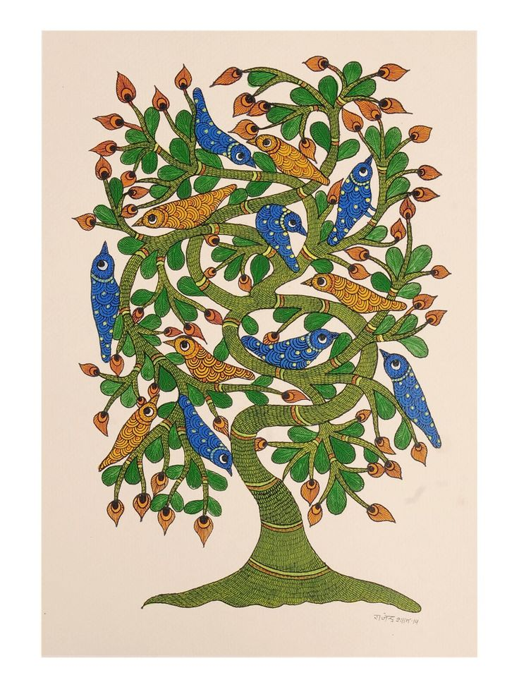 Buy Multi Color Tree Bird Gondh Painting By Rajendra Shyam 14in x 10in Paper Acrylic Permanent Ink Art Decorative Folk of Good Fortune Tribal Gond from Madhya Pradesh Online at Jaypore.com