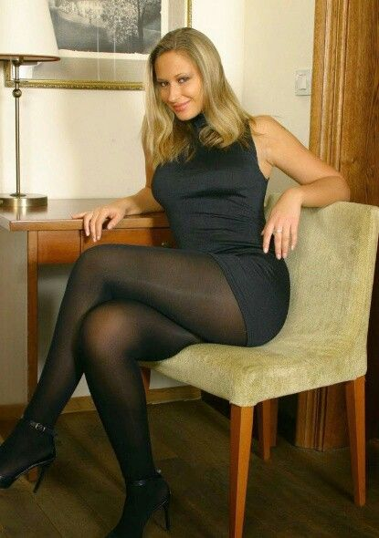 Mature with sexy pantyhose and miniskirt