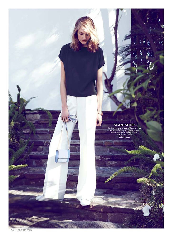 Black top; white pants; Nordstrom Catalog 2015 March