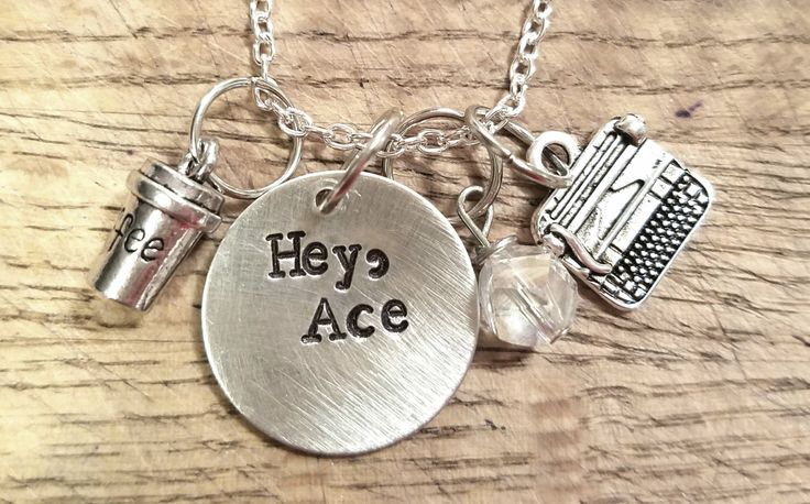 """Gilmore Girls- Rogan """"Hey, Ace"""" hand stamped necklace- Logan Huntzberger and Rory Gilmore by FangirlProblemsInc on Etsy https://www.etsy.com/listing/483180920/gilmore-girls-rogan-hey-ace-hand-stamped"""