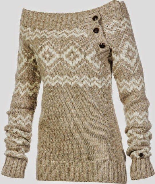 Wide Neck Side Button Sweater #warmth #winter