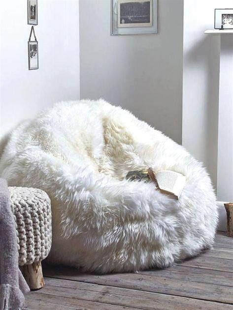 Sheepskin pouf Lamb pouf White pouf Large pouf Fur pouf Comfortable pouf Sheepsk…   – Home decor
