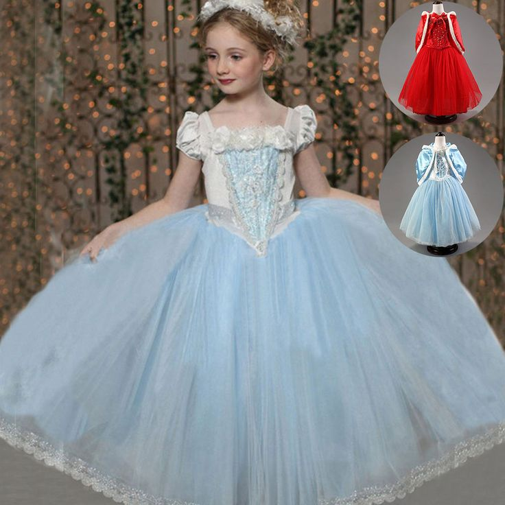 Girl's Kids Princess Cinderella Party Dress Cape Cosplay Christmas Fancy Costume #Fashion #2PCSCompleteCostumeDressHoodieCape #EverydayHolidayPageantHalloweenParty
