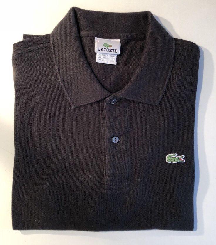 LACOSTE 7  Mens Polo Shirt Sz 7  XL cotton Short sleeve Black EUC