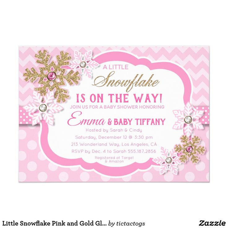 Little Snowflake Pink And Gold Glitter Baby Shower