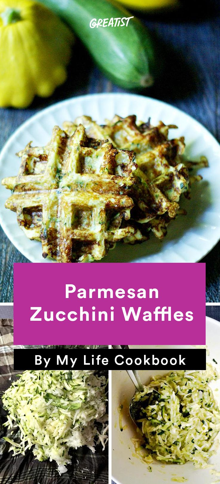 3. Parmesan Zucchini Waffles #healthy #zucchini #lowcarb #recipes http://greatist.com/eat/low-carb-zucchini-recipes