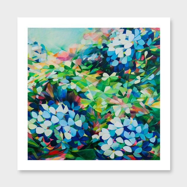 Hydrangeas in Phthalo & Neon Art Print by Jenni Stringleman NZ Art Prints, Art Framing Design Prints, Posters & NZ Design Gifts | endemicworld