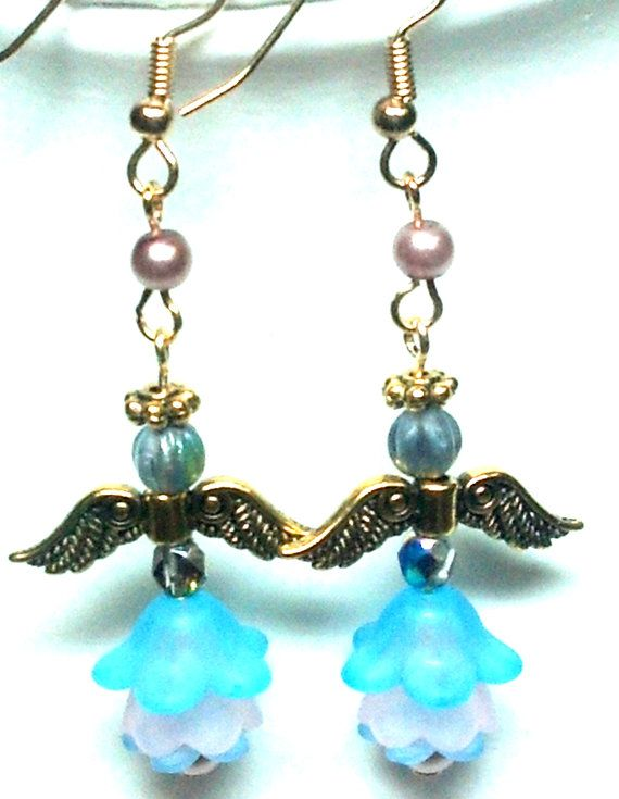 Blue and Pink Flower Angel Earrings by teresadelosh on Etsy, https://www.etsy.com/listing/120331832/blue-and-pink-flower-angel-earrings