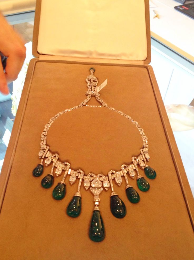 Art Deco emerald and diamond necklace, by Van Cleef & Arpels, formerly from the collection of Princess Faiza of Egypt, daughter of King Foua...