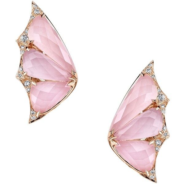 Stephen Webster Rose Gold and Diamond Fly By Night Crystal Haze... ($5,455) ❤ liked on Polyvore featuring jewelry, earrings, clear earrings, earring jewelry, pink gold earrings, clear crystal earrings and pave diamond earrings