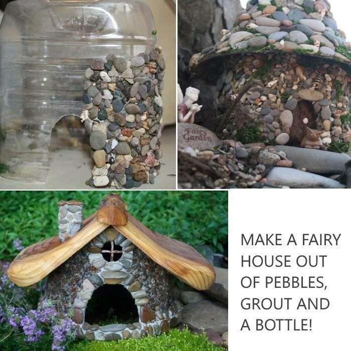 Fairy houses from bottle, rock, grout