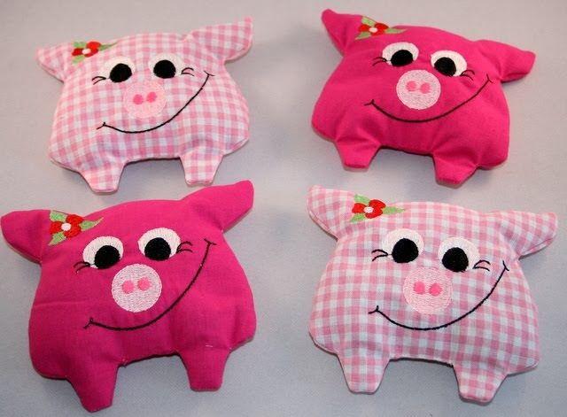 Allerlei - genäht, gestickt, gestrickt und gebastelt: Kühlkissen/Wärmekissen Schweinchen ....