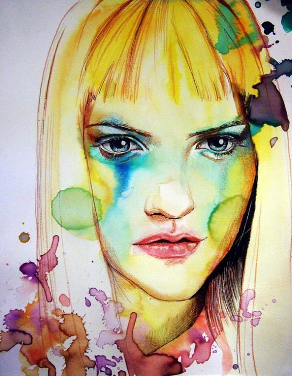 A mixed media (watercolor, ink, charcoal and colored pencil) painting by Olga Noes. Olga is a self-taught portrait artist from Germany. Her primary fuel for creativity is juxtaposition.