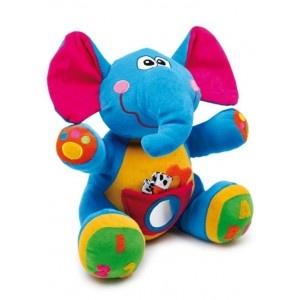 Deze olifant is een gekleurde knuffel en heeft vele verrassingen voor de vingers, ogen en oren. Zijn hoofd maakt een rattelend geluid en zijn oren kraken. Een spiegel op zijn buik en in zijn buiktas een bijtring.
