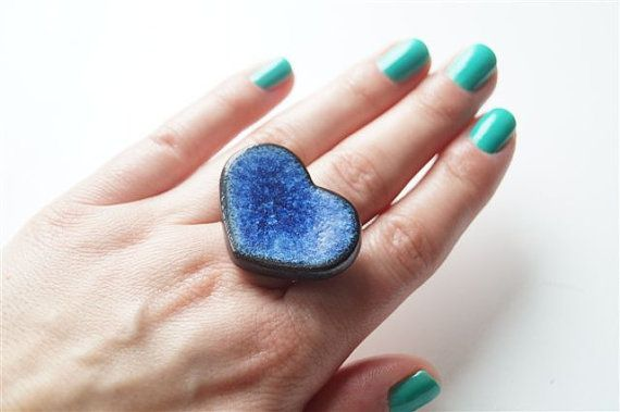 Cocktail Ring Heart Ring Statement Ring Royal Blue Ring by bemika
