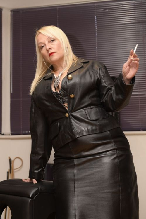 Mature ladies in leather gloves