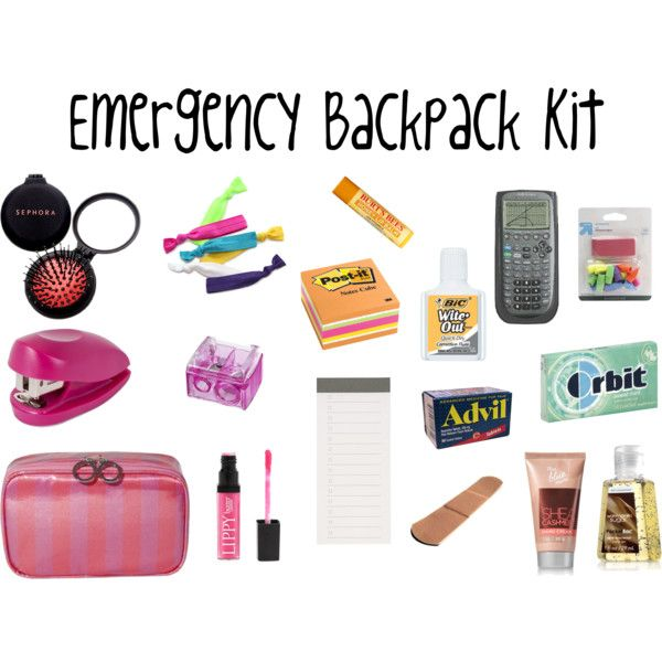 Emergency Backpack Kit: using pencil pouches & a binder, organize makeup products & medications by family member or ailment. Great in a binder & for travel!