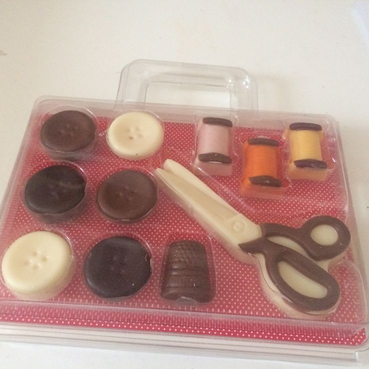 17/5/16. I found this sewing set in a shop , it's interesting to see how chocolate is being made into these shapes.