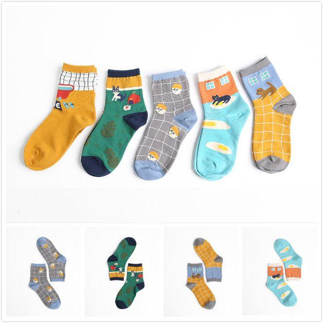 Иллюстрации картины дома серии тканые цветы короткий хлопок носок мужские и женские мультфильм животных тонкий головы Netural носки Calcetines