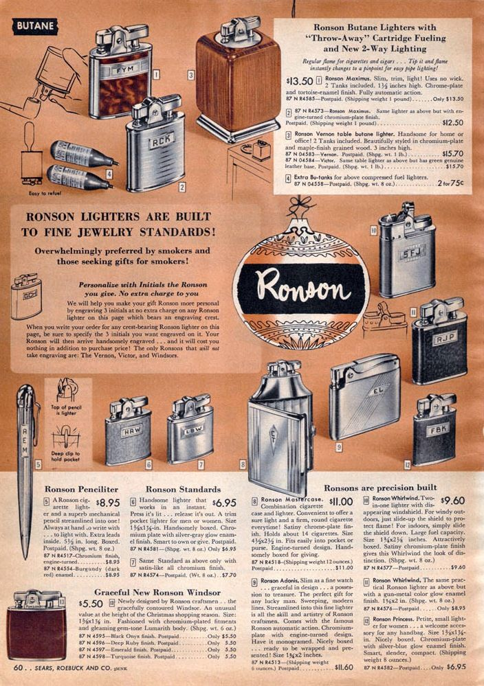 Presented Ronson lighter models