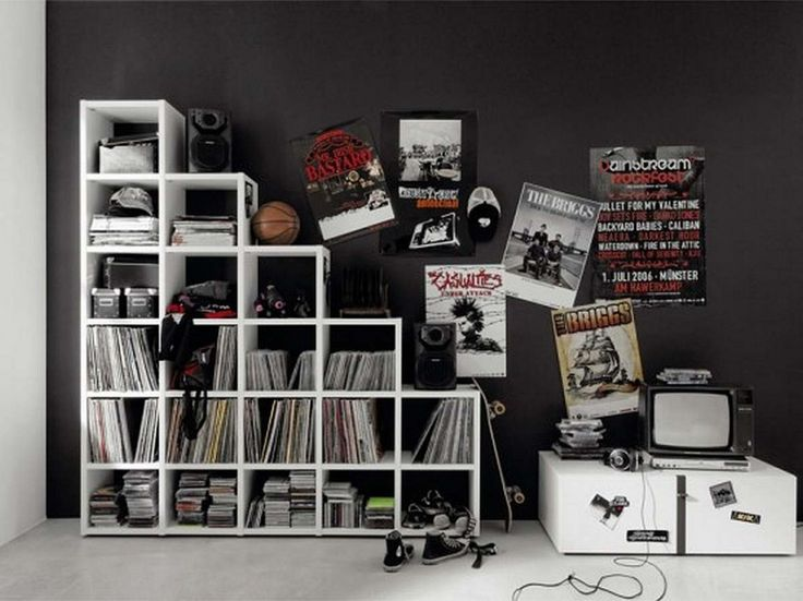 nice teen room design idea amazing bookshelf and posters on a black wall