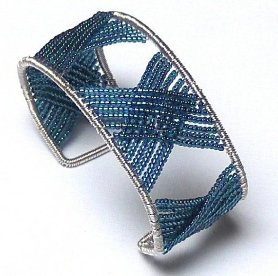 Large Cuff Bracelet French Blue Wire Wrapped X Sterling and Fine Silver