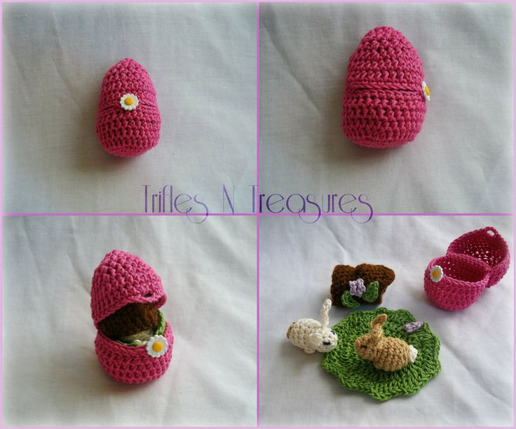 "Crochet Easter Bunny Playset ~ Easter basket stuffer or on-the-go playset ~ egg measures approx. 3""T x 2.25"" across log measures 2"" long, grass playmat ~ FREE CROCHET pattern"