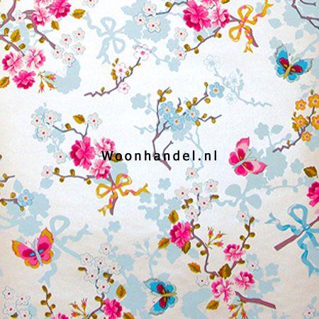 386030 Chinese Rose Eijffinger Behang Pip Vlinder Bloem Wit Glans - Woonhandel