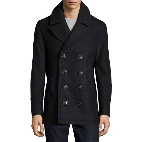 Burberry Iconic Wool-Blend Pea Coat ($1,160) ❤ liked on Polyvore featuring men's fashion, men's clothing, men's outerwear, men's coats, navy, burberry mens coat, mens double breasted coat, mens double breasted pea coat and mens navy pea coat