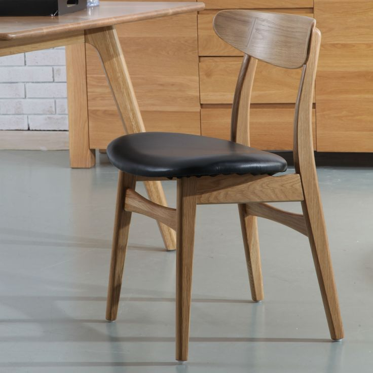 Astrid Solid Oak Dining Chair - Black Top Grain Leather Seat - ICON BY DESIGN #iconbydesign #iconbydesignaustralia #redeemadeal #redadeal