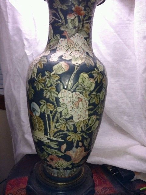 Antique Leviton Handpainted Asian Lamp with Wooden Base