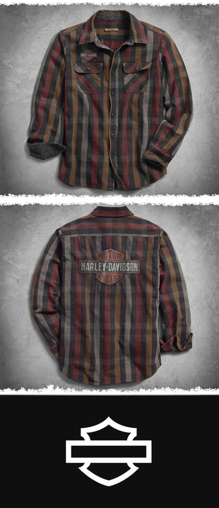 Don't worry, this rugged all-cotton shirt can take it.   Harley-Davidson Men's Logo Over-Dyed Plaid Slim Fit Shirt