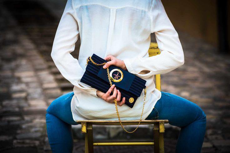 ELENA RICCI - Leila pochette in tessuto gessato e chiusura gioiello