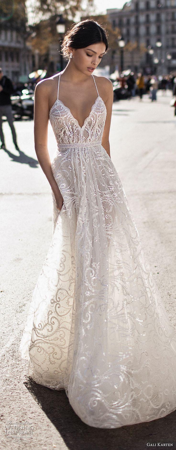 gali karten 2017 bridal spaghetti strap halter neck deep sweetheart neckline full embellishment elegant romantic soft a  line wedding dress sweep train (9) zv -- Gali Karten 2017 Wedding Dresses