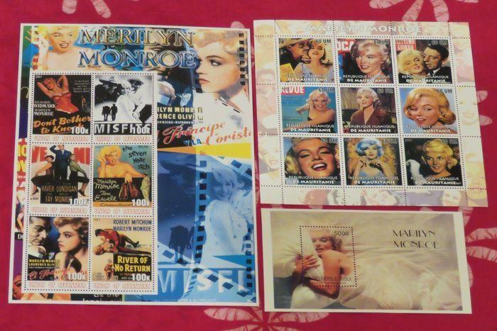 Filatelie - Lot met 3 speciale postzegeluitgaven - 1999/2003  Kavel bevat:(1) Eén postzegelblaadje uit Mauretanië met gegomde achterzijde. Dit blaadje bestaat uit 9 verschillende ongebruikte postzegels en tonen verschillende magazinecovers. (2) Eén postzegelblaadje uit Myanmar met gegomde achterzijde. Dit blaadje bestaat uit 6 verschillende ongebruikte postzegels en tonen diverse filmaffiches.(3) Eén postzegelblokje uit Tuva een Russische autonome republiek met gegomde achterzijde. Dit…