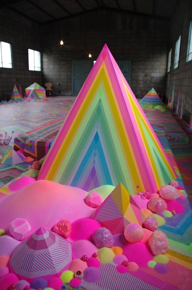 an art installation by pip & pop in kurashiki, okayama: through a hole in the mountain