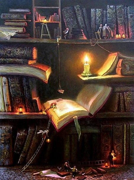 Your bookshelves at night. All the characters emerge from the books to do a bit of their own reading : © Валентин Рекуненко / Valentin REKUNENKO (Artist. Urkaine)