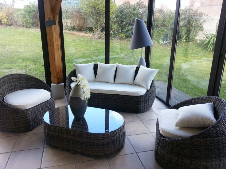 Ritardo salon de jardin 4 places en r sine tress e d co for Mobilier rotin exterieur